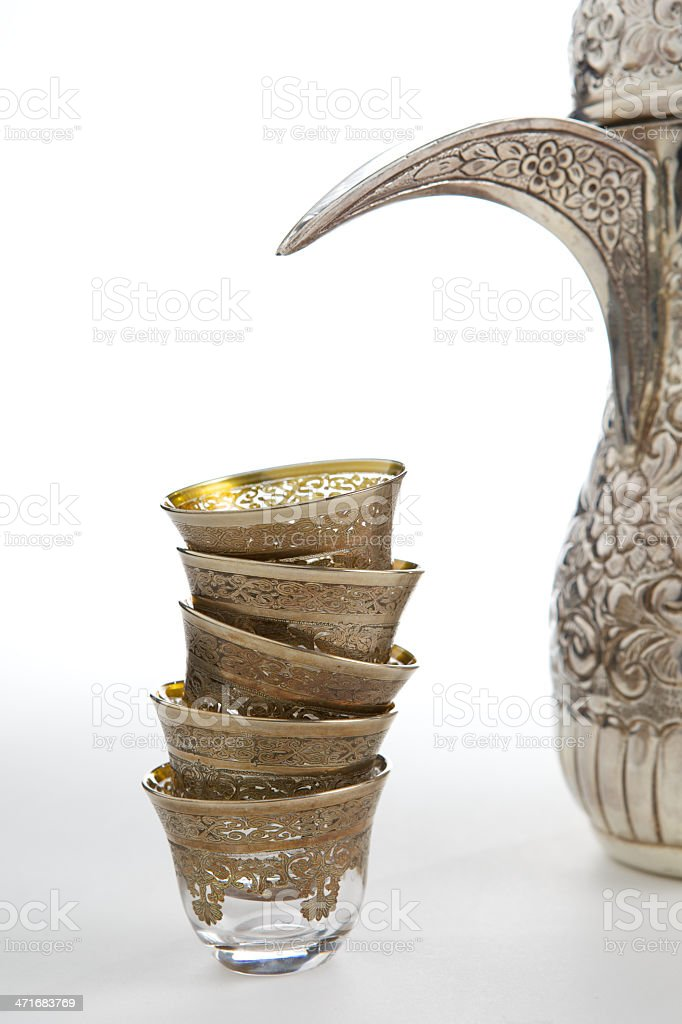 Traditional Arabian Coffee Cups and Pot royalty-free stock photo