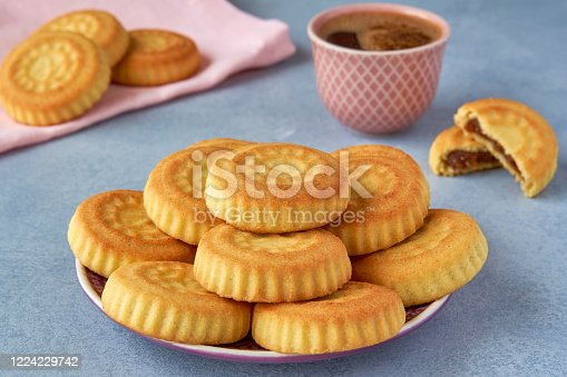 1200374148 istock photo Traditional arabic eid sweets. Maamoul cookies with dates and coffee 1224229742