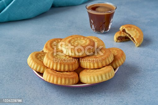 1200374148 istock photo Traditional arabic eid sweets. Maamoul cookies with dates and coffee 1224229786