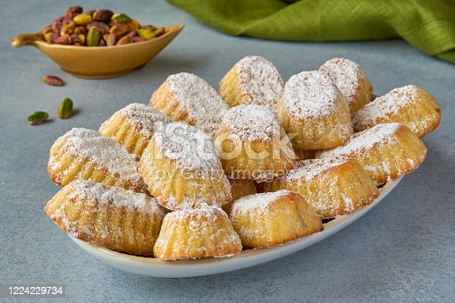 963384046 istock photo Traditional arabic eid sweets. Maamoul cookies with pistachios 1224229734