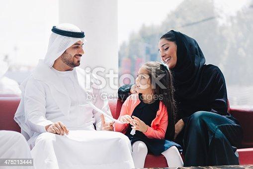 istock Traditional  Arabic family enjoying at lounge 475213444
