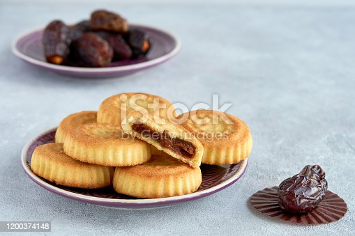 963384046 istock photo Traditional arabic sweets with dates and walnut. Maaamoul cookies 1200374148