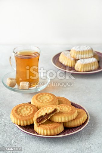 963384046 istock photo Traditional arabic sweets with dates and walnut. Maaamoul cookies 1200374422