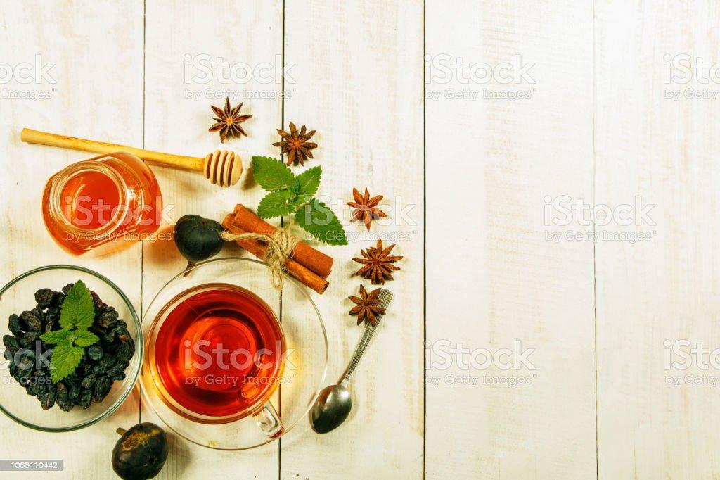 Traditional Arabic Turkish Ramadan Tea With Dry Dates And Raisins On