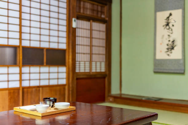 Traditional Architecture in a Japanese Ryokan Inn stock photo