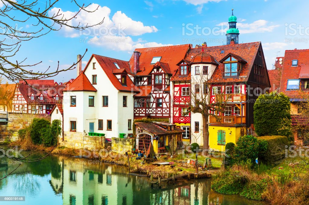 Traditional architecture in Lauf an der Pegnitz, Germany stock photo