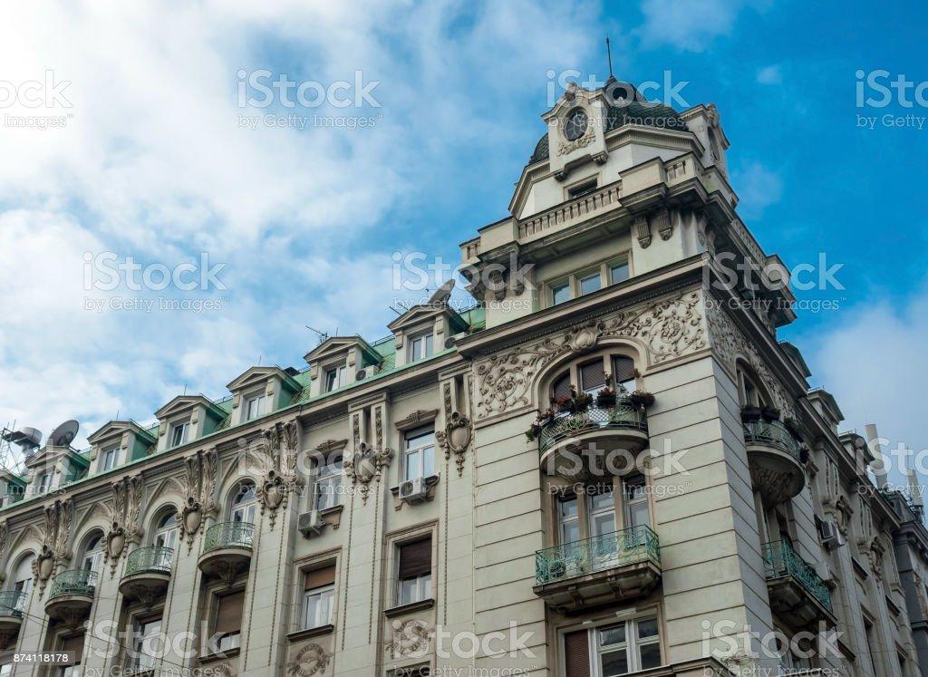 Traditional architecture in Novi Sad city, Serbia stock photo