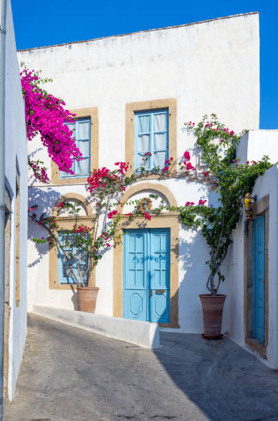 Traditional architecture in the chora of Patmos island, Dodecanese, Greece stock photo