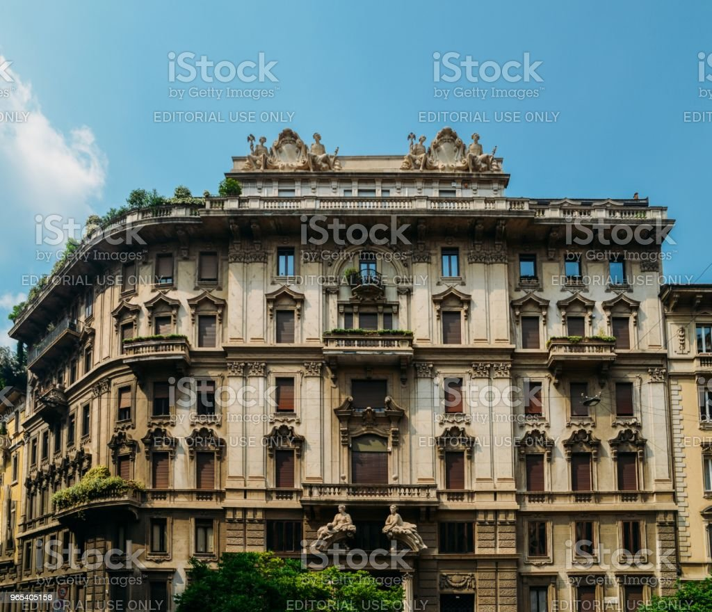 Traditional architecture in turn of the 20th century Art Nouveau style at Piazza Eleonora Duse in Milan's Porta Venezia district, Lombardy, Italy royalty-free stock photo
