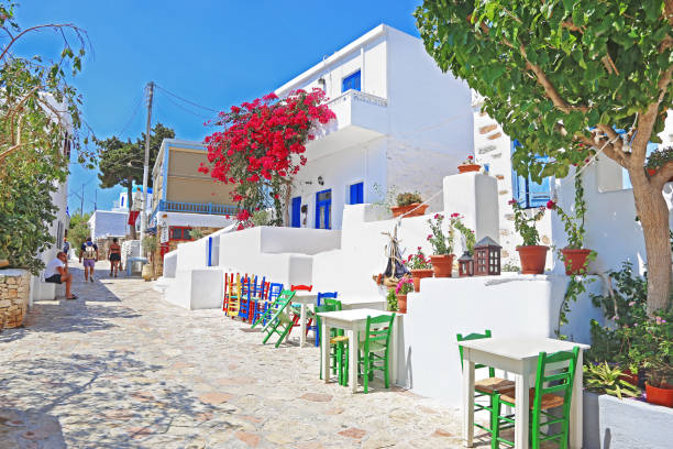 traditional architecture of Ano Koufonisi island Cyclades Greece stock photo
