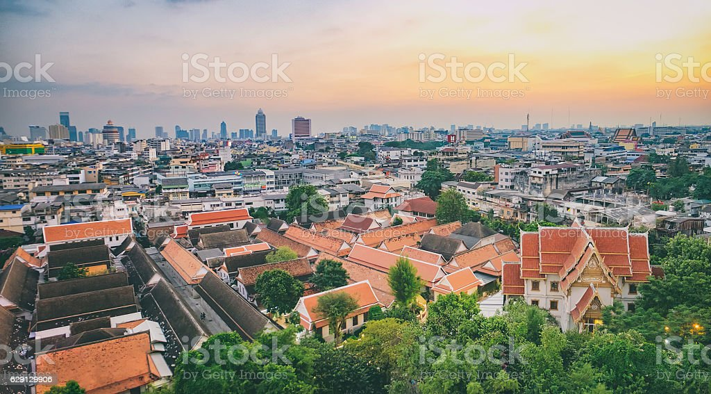 Traditional architecture of Bangkok stock photo