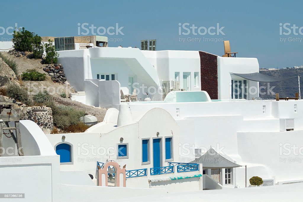 Traditional architecture of Oia village on Santorini island royalty-free stock photo