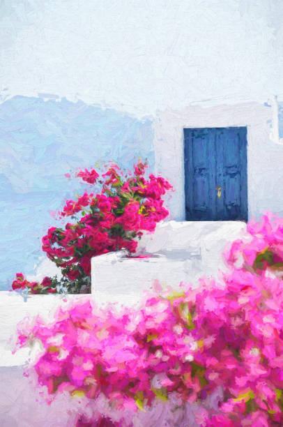 traditionelle architektur von santorini, griechenland - malerei türen stock-fotos und bilder