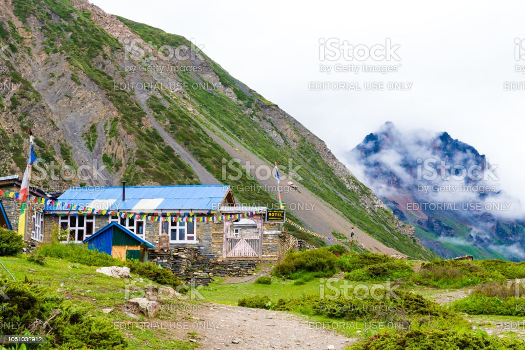 Traditional architecture on the way to Thorang-la pass basecamp, Annapurna Conservation Area, Nepal stock photo
