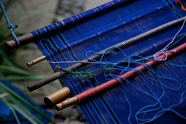 Traditional art of loom weaving in Guatemala stock photo