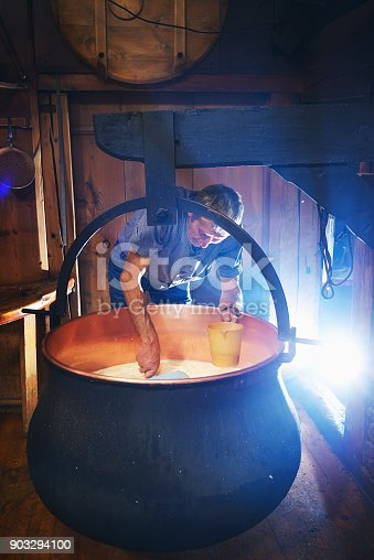 Traditional Artisanal Cheesemaking Stock Photo & More Pictures of Active Seniors