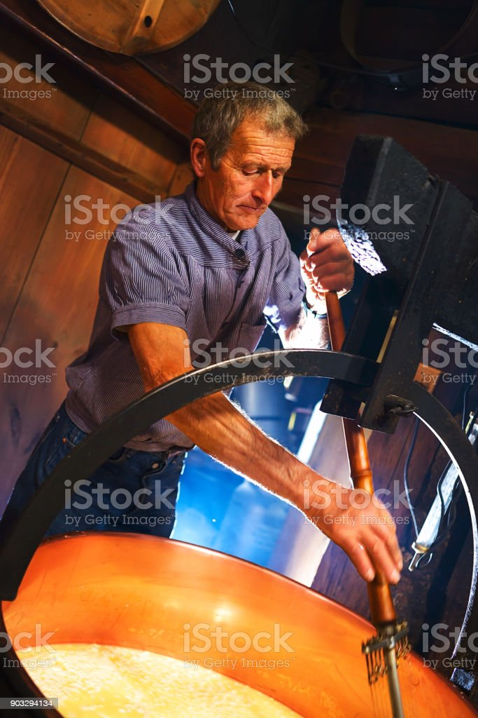 Traditional Artisanal Cheesemaking stock photo