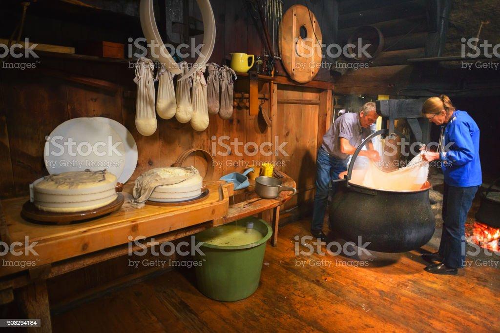Traditional Artisanal Cheesemaking stock photo