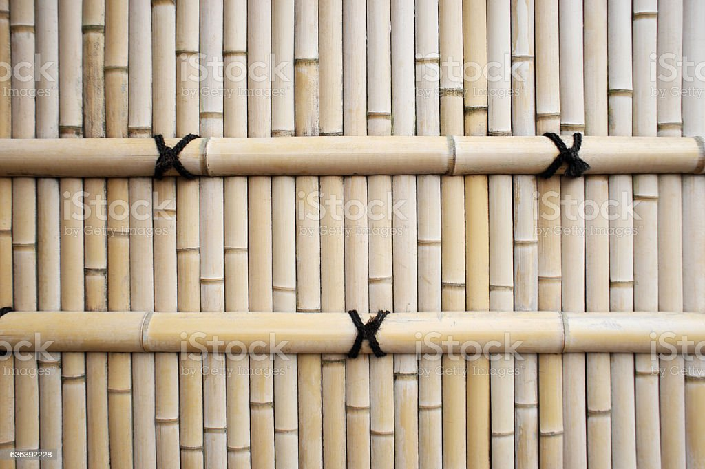 Traditional asia style bamboo fence texture for background. stock photo