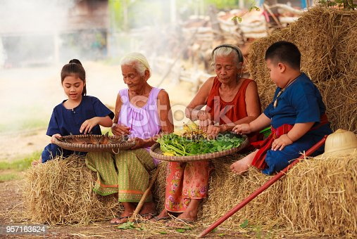 istock Traditional Asian Thai rural daily life, grandchildren in cultural costumes help their seniors preparing local food ingredients for the meal. Diversity in age, outdoor setting. 957163624