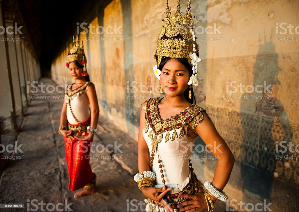 Traditional Aspara Dancers Cambodia stock photo