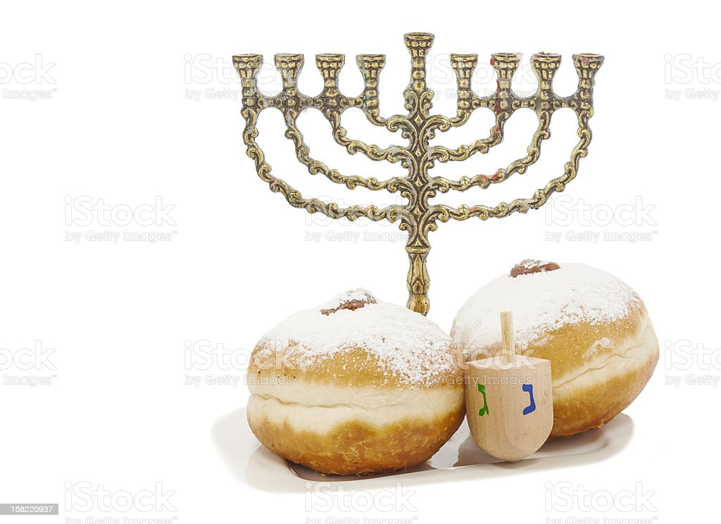 Traditional attributes of Hanukkah over white royalty-free stock photo