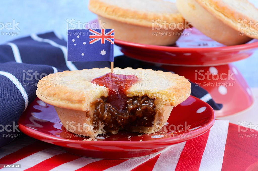 Traditional Australian Meat Pies stock photo