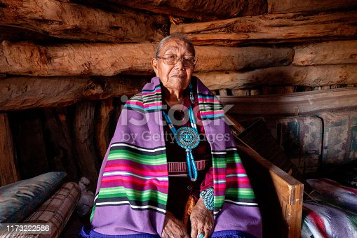 Traditional Authentic Navajo Elderly Woman Posing in Traditional Clothing in a Hogan in Monument Valley Arizona