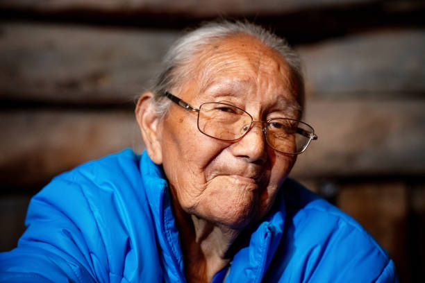 Traditional Authentic Navajo Elderly Woman Posing in Traditional Clothing in a Hogan in Monument Valley Arizona stock photo... stock photo