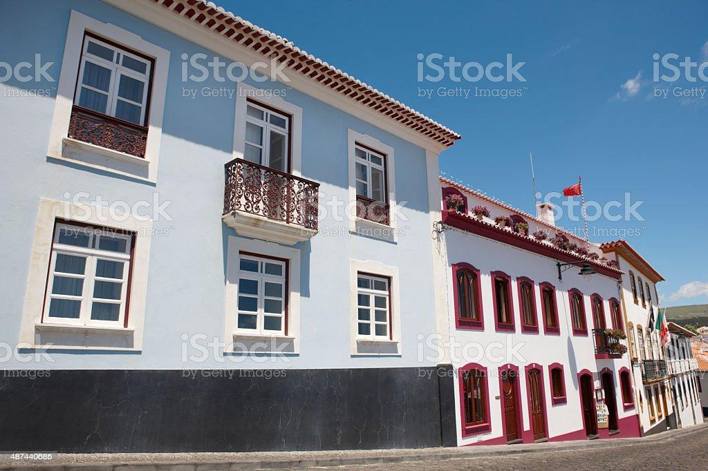 Traditional Azores street in Angra do Heroismo. Terceira island. stock photo