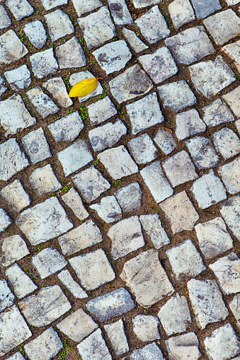 Traditional Azulejo Bright Road Stone Tiles Used for Regular Road Pavement in Portugal.Vertical Image