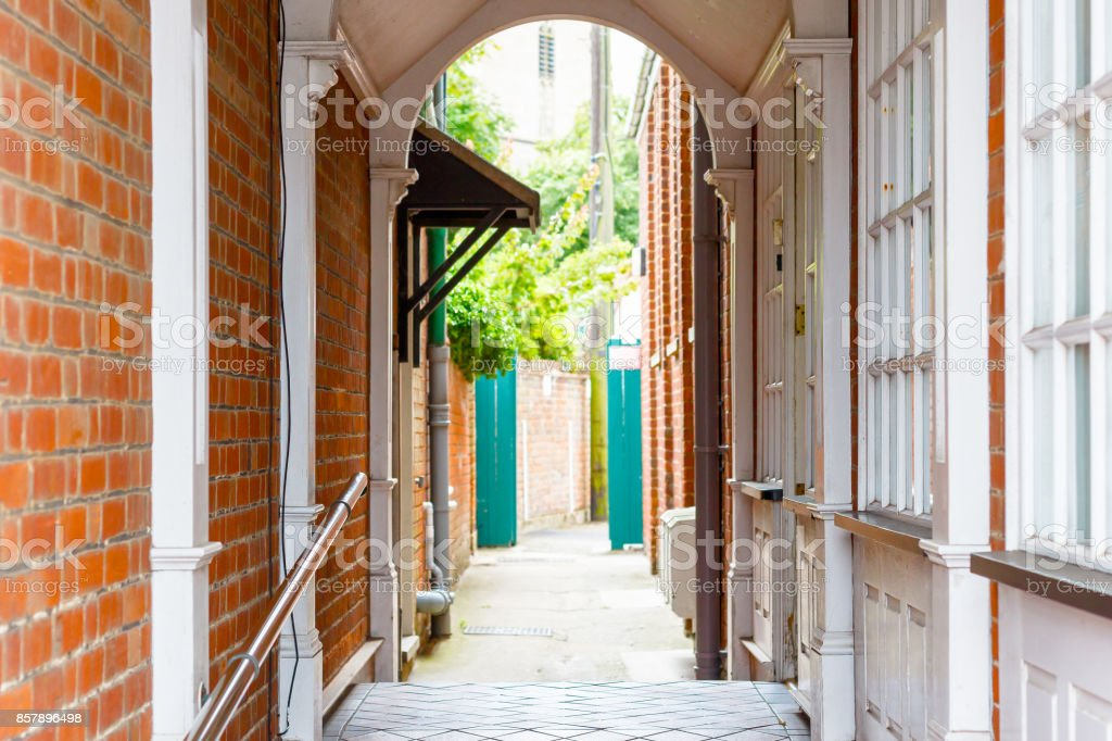 Traditional back alley in Southwold, UK stock photo