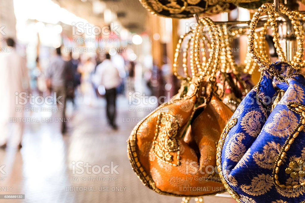Traditional Bags For Sale In Dubai Souq Stock Photo - Download Image