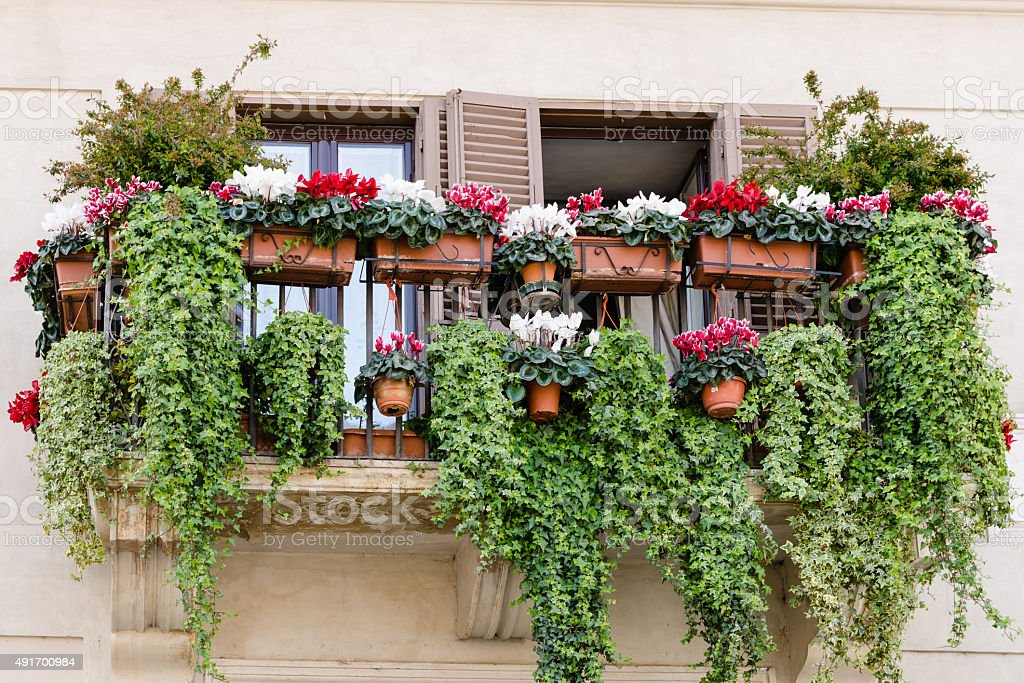 traditional balcony with flowers old style italy stock. Black Bedroom Furniture Sets. Home Design Ideas