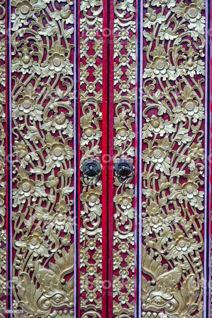 Traditional Balinese Door Decoration stock photo