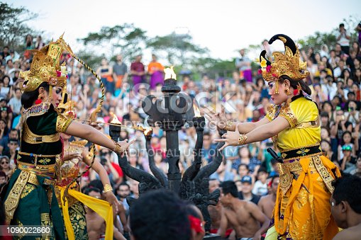 Bali, Indonesia - Traditional Balinese Kecak Dance at Uluwatu Temple in Bali, Indonesia. Kecak also known as Ramayana Monkey Chant, is very popular cultural show on Bali.