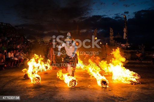 Bali, Indonesia - March 15, 2015: Traditional Balinese Kecak Dance at Uluwatu Temple in Bali, Indonesia. Kecak also known as Ramayana Monkey Chant, is very popular cultural show on Bali.