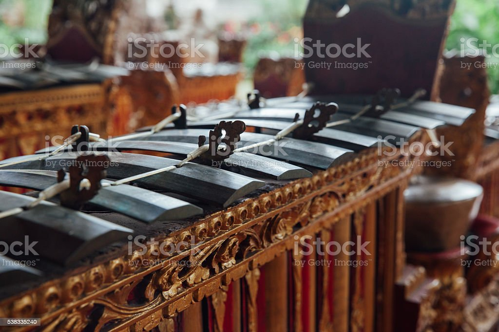 Traditional balinese music instruments, Ubud, Bali stock photo