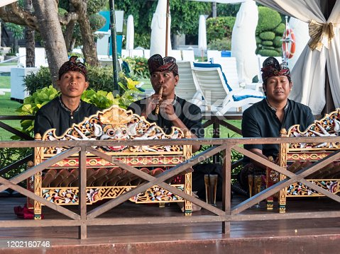Kuta, Bali / Indonesia - 10/29/2017 Traditional Balinese Musicians Performing.