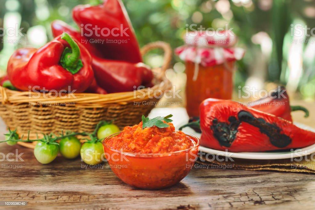 Traditional Balkan Ajvar,delicious dish stock photo