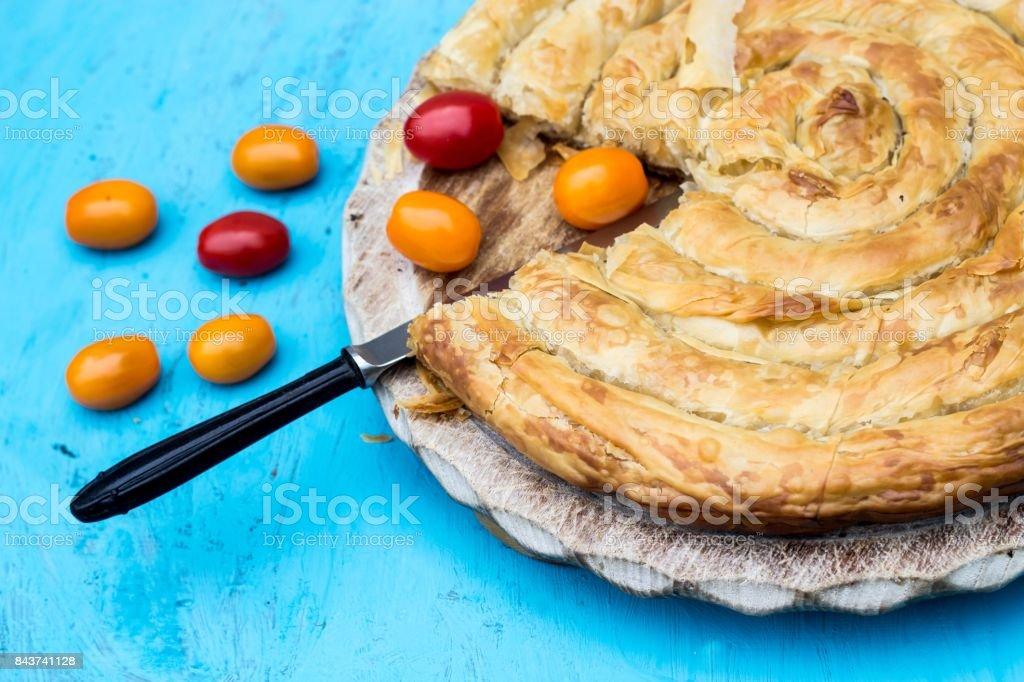 Traditional Balkan pie - burek stock photo