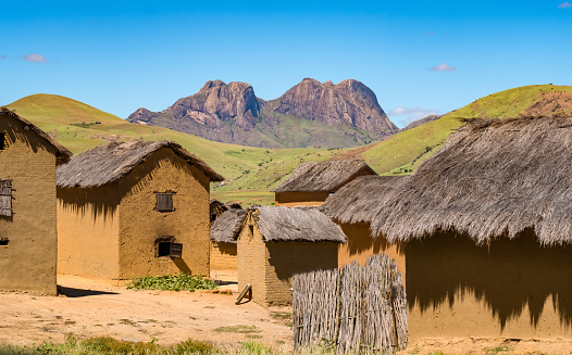 istock Traditional Bara villages dot the legendary National Route 7 in the southern part of the central plateau of Madagascar, near the Isalo National Park 957783780