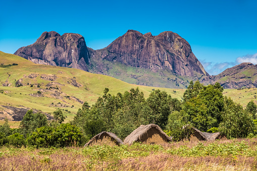 istock Traditional Bara villages dot the legendary National Route 7 in the southern part of the central plateau of Madagascar, near the Isalo National Park 957786316