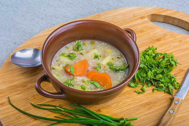 Traditional barley soup in a bowl stock photo