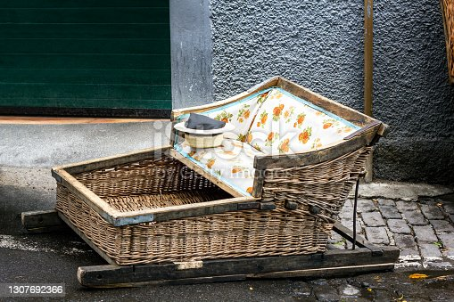 Traditional basket toboggan in Madeira, Portugal