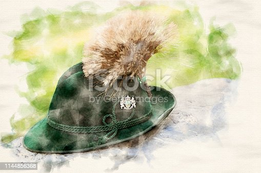 istock traditional bavarian hat on a stone in watercolors 1144856368