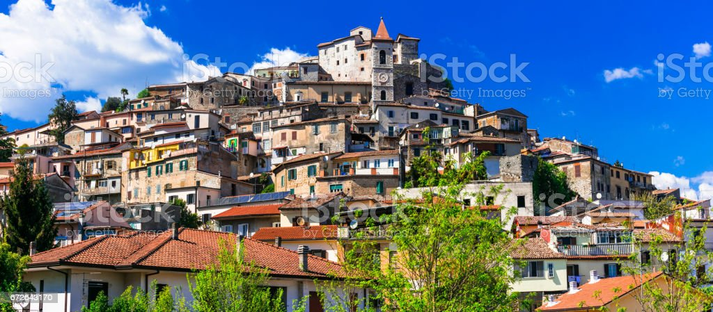 Traditional beautiful villages of Italy - medieval Ceccano in Lazio stock photo