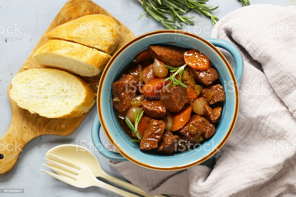 Traditional  beef goulash - Boeuf bourguigno.Stew meat with vegetables stock photo