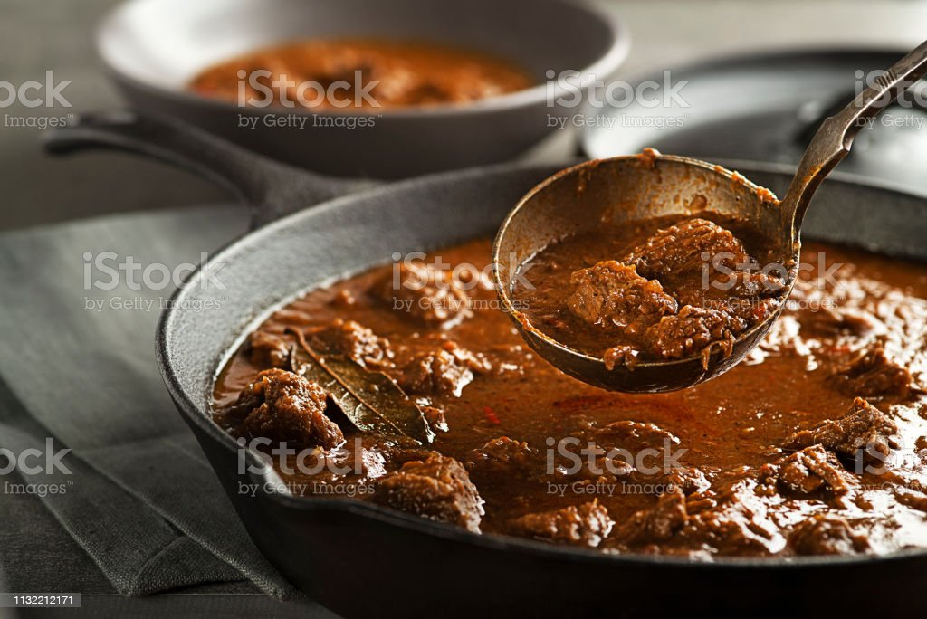 Traditional Beef stew - goulash Served of portion of traditional Beef stew - goulash Beef Stock Photo