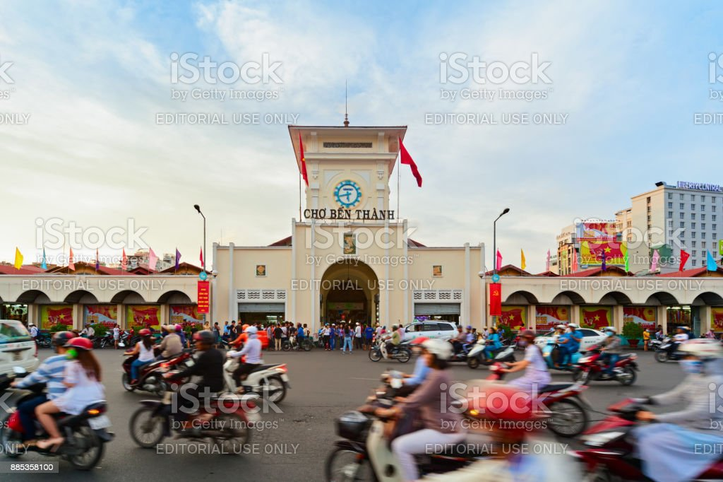 Traditional Ben Thanh market in Ho Chi Minh city, Vietnam stock photo